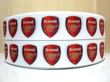 1 METRE OF ARSENAL FOOTBALL CLUB RIBBON SIZE 7/8s HEADBANDS BOWS HAIR CLIPS
