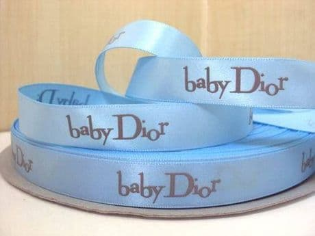 1 METRE OF BABY BLUE DIOR RIBBON IN SIZE 5/8 HEADBANDS BOWS CARD MAKING