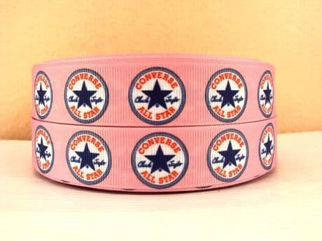 1 METRE OF BABY PINK CONVERSE RIBBON IN SIZE 7/8 HEADBANDS BOWS CARD MAKING