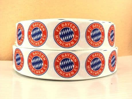1 METRE OF BAYERN MUNICH MUNCHEN FOOTBALL CLUB RIBBON SIZE 1 INCH HEADBANDS BOWS