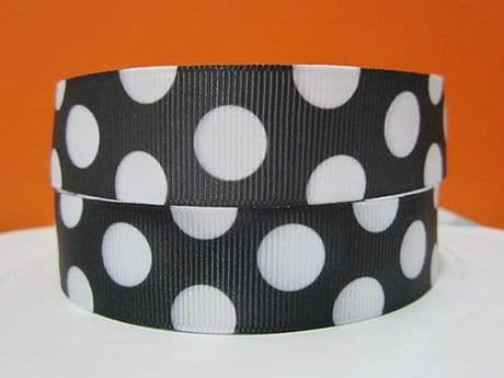 1 METRE OF BLACK WITH WHITE SPOTS RIBBON SIZE 7/8s HEADBANDS HAIR BOWS