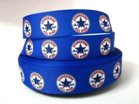 1 METRE OF BLUE CONVERSE RIBBON IN SIZE 7/8 HEADBANDS BOWS CARD MAKING