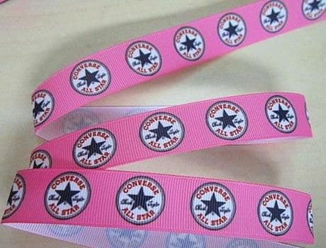 1 METRE OF BRIGHT PINK CONVERSE RIBBON IN SIZE 7/8 HEADBANDS BOWS CARD MAKING