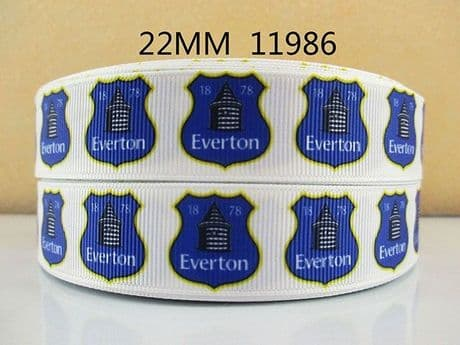 1 METRE OF EVERTON FOOTBALL CLUB RIBBON SIZE 7/8 HEADBANDS BOWS HAIR CLIPS CARD MAKING (1)