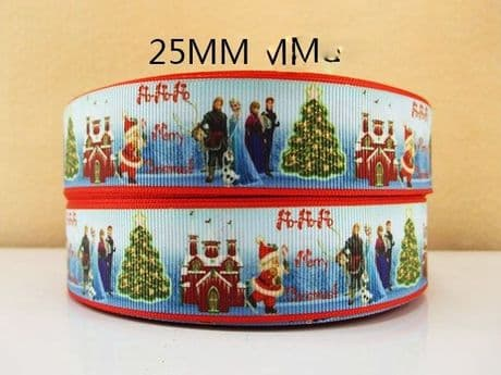 1 METRE OF FROZEN MERRY CHRISTMAS XMAS TREE RIBBON SIZE 1 INCH BOWS HEADBAND CARD MAKING