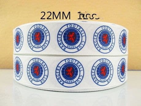 1 METRE OF GLASGOW RANGERS FOOTBALL CLUB RIBBON SIZE 7/8s HEADBANDS BOWS CARD MAKING BIRTHDAY CAKE