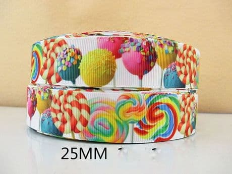 1 METRE OF LOLLIPOP RIBBON SIZE 1 INCH BOWS HEADBANDS BABY HAIR BIRTHDAY CAKE