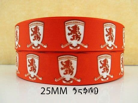 1 METRE OF MIDDLESBROUGH BORO FOOTBALL CLUB RIBBON SIZE INCH HEADBANDS BOWS HAIR CLIPS