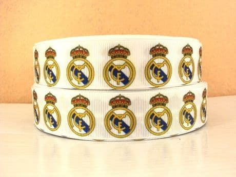 1 METRE OF REAL MADRID FOOTBALL CLUB RIBBON SIZE 1 INCH HEADBANDS BOWS HAIR CLIPS