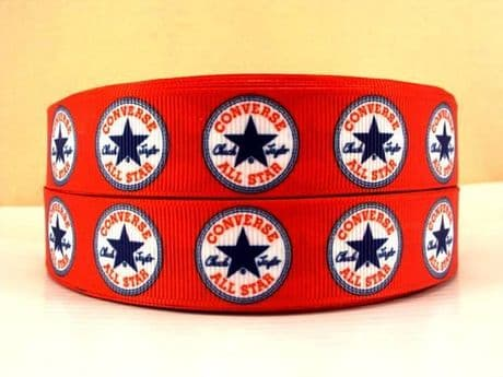 1 METRE OF RED CONVERSE RIBBON IN SIZE 7/8 HEADBANDS BOWS CARD MAKING