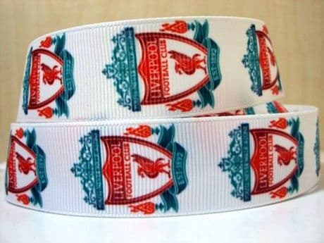 1 METRE OF WHITE LIVERPOOL FOOTBALL CLUB  RIBBON SIZE INCH HEADBANDS CLIPS BOWS CARD MAKING PLAQUES