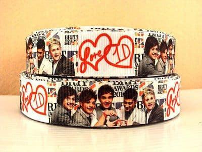 1 METRE ONE DIRECTION 1D LOVE HEART COVER RIBBON SIZE INCH BOWS HEADBANDS CAKE #108A