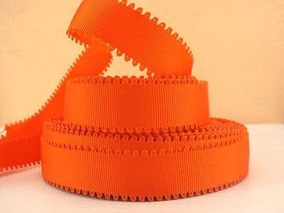 1 METRE ORANGE WAVE EDGE GROSGRAIN RIBBON SIZE 7/8 BOWS HEADBANDS HAIR CAKE