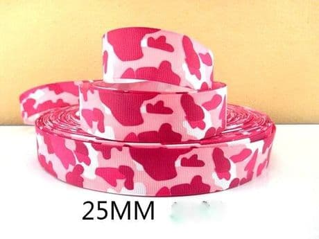 1 METRE PINK CAMOUFLAGE RIBBON SIZE INCH BOWS HEADBANDS BIRTHDAY CAKE HAIR CLIPS