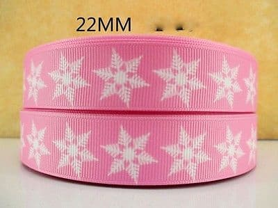1 METRE PINK FROZEN SNOWFLAKE RIBBON SIZE 7/8 BOWS HEADBANDS BIRTHDAY CAKE