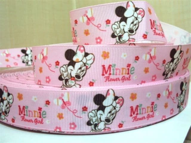 1 METRE PINK MINNIE MOUSE FLOWER GIRL RIBBON SIZE 7/8s HAIR BOWS HEADBANDS CAKE