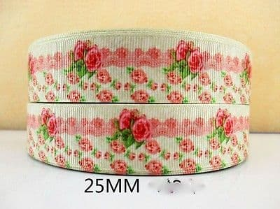 1 METRE PINK ROSEBUD FLOWER RIBBON SIZE 1 INCH BOWS HEADBANDS HAIR CAKE #97