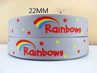 1 METRE PRETTY RAINBOW RIBBON SIZE 1 INCH BOWS HEADBANDS BIRTHDAY CAKE HAIR CLIP