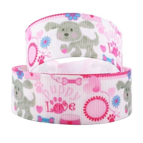 1 METRE PUPPY LOVE RIBBON SIZE 1INCH HEADBANDS HAIR BOWS BABY CLIPS CARD MAKING