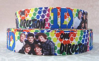 1 METRE RAINBOW COLOURS 1D ONE DIRECTION RIBBON SIZE 1 INCH BOWS HEADBANDS CAKE #131