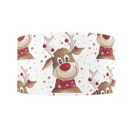 1 METRE RUDOLPH CHRISTMAS XMAS RIBBON SIZE 1 INCH BOWS HEADBANDS HAIR CARD MAKING