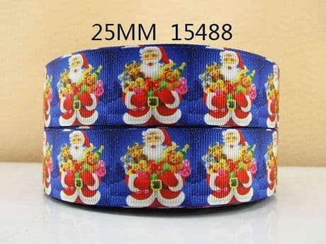 1 METRE SANTA CHRISTMAS XMAS RIBBON SIZE 1 INCH HAIR BOWS HEADBANDS CARD MAKING