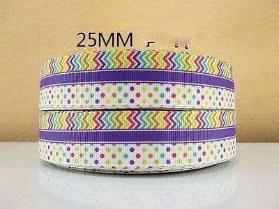 1 METRE SPOTTY CHEVRON RIBBON SIZE 1 INCH BOWS HEADBANDS HAIR CAKE