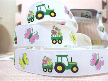 1 METRE TRACTOR + BUTTERFLY RIBBON SIZE 7/8 BOWS HEADBANDS BABY HAIR BIRTHDAY CAKE CARD MAKING
