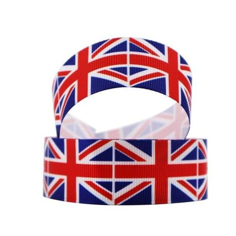 1 METRE UNION JACK RIBBON SIZE 1 INCH BRITISH BRITAIN HAIR BOWS HEADBANDS CRAFTS
