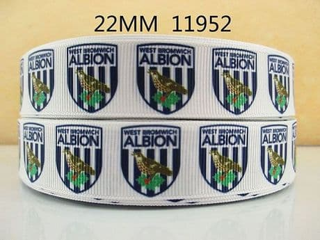 1 METRE WEST BROM FOOTBALL RIBBON SIZE 7/8 HEADBANDS HAIR BOWS CARD MAKING