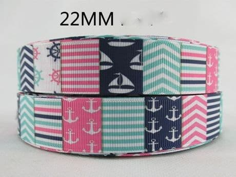 1 METRE YACHT BOAT ANCHOR RIBBON SIZE 7/8 BOWS HEADBANDS HAIR BIRTHDAY CAKE CARD MAKING