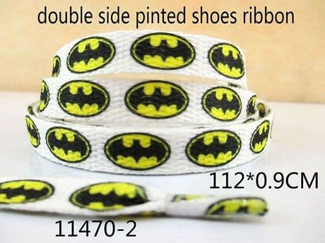 1 PAIR OF YELLOW AND WHITE BATMAN DOUBLE SIDED PRINTED SHOE LACES LOOK BARGAIN