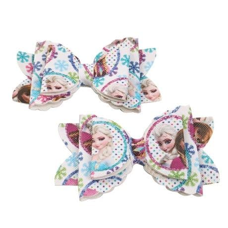 1 x 3.5 INCH ANNA + ELSA FROZEN LEATHER FABRIC HAIR BOW HEADBANDS FREE ALIGATOR SENT LOOK