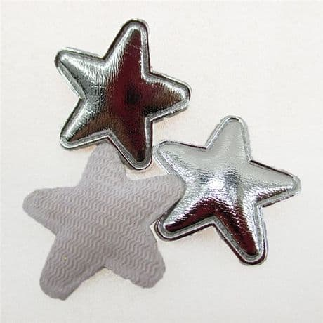 10 x 1 INCH SILVER STAR PADDED APPLIQUE EMBELLISHMENT HEADBANDS HAIR BOWS CARD MAKING