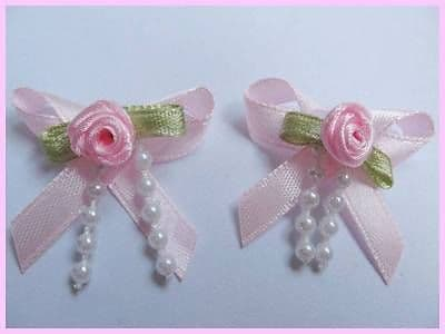 10 x 1.25 INCH BABY PINK BOW WITH ROSEBUD + BEADS HEADBANDS BABY SOCKS SHOES BOW