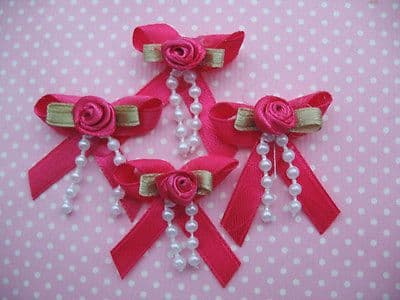 10 x 1.25 INCH HOT PINK BOW WITH ROSEBUD + BEADS HEADBANDS BABY SOCKS SHOES BOWS