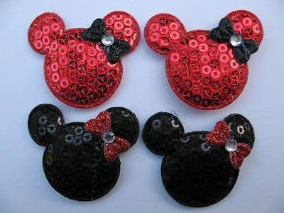 10 x 1.5 INCH RED + BLACK SEQUIN MINNIE HEAD APPLIQUE EMBELLISHMENT HEADBANDS HAIR BOWS