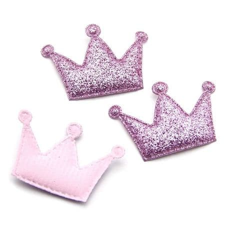 10 x 1.75 INCH PINK SEQUIN GLITTER CROWN PADDED APPLIQUE HEADBANDS HAIR BOWS
