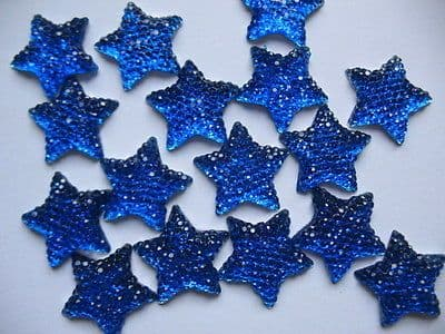 10 x 16MM BLUE GLITTER STAR FLAT BACK BOW CENTRE EMBELLISHMENTS HEADBANDS BOWS CARD MAKING