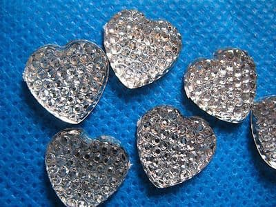 10 x 16MM FLAT BACK RESIN SILVER HEART GEMS EMBELLISHMENTS PHONE CASE HEADBANDS CARD MAKING