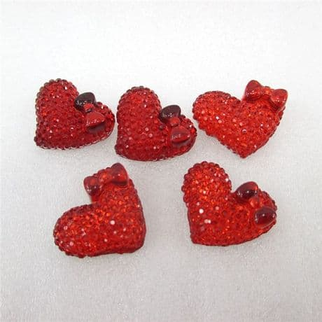 10 x 18MM RED HEART + BOW FLAT BACK RESIN HAIR BOWS HEADBANDS CARD MAKING CRAFTS
