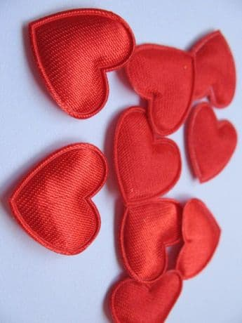 10 x 20MM RED HEART APPLIQUE EMBELLISHMENT HEADBANDS BOWS CARD MAKING
