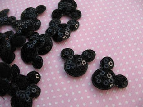 10 x BLACK SEQUIN MICKEY MINNIE MOUSE HEAD APPLIQUE SIZE 7/8s HEADBANDS BOWS CARD MAKING