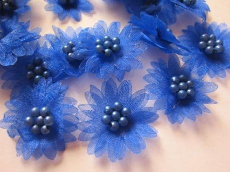 10 X BLUE ORGANZA DAISY BEADED FLOWER EMBELLISHMENTS HEADBANDS HAIR BOWS CRAFTS