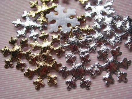 10 X INCH  SILVER + GOLD SNOWFLAKE APPLIQUE EMBELLISHMENT HEADBANDS HAIR BOWS