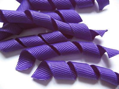 100 PCS PRECUT CURLED GROSGRAIN PURPLE KORKER RIBBON BOWS BOBBLES HEADBANDS