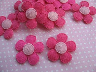 10x 1 INCH FELT BRIGHT PINK DAISY FLOWER EMBELLISHMENTS HEADBANDS CARD MAKING BOWS