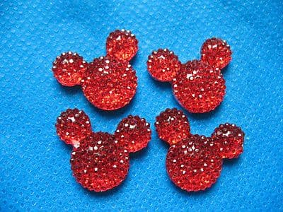 10X 14MM RED GLITTER FLAT BACK RESIN MINNIE MICKEY MOUSE HEAD GEMS EMBELLISHMENTS