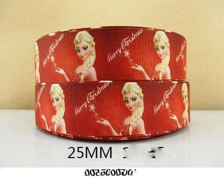 1M ELSA MERRY CHRISTMAS XMAS RIBBON SIZE 1 INCH PERFECT FOR CAKES HEADBANDS BOWS ANY CRAFT PRODUCTS