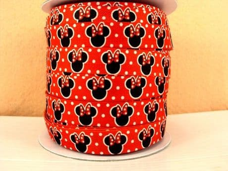 2 YARD RED MINNIE MOUSE FOLD OVER ELASTIC SIZE 5/8 PERFECT FOR HEADBANDS FOE